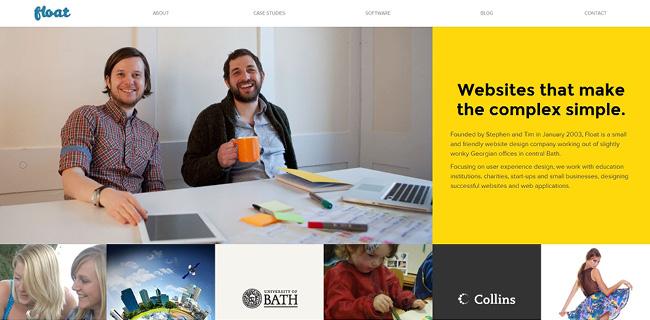 フラットデザインを採用しWixで作成されたFloat Designのホームページ