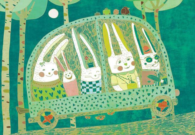 ウサギが車に乗っている