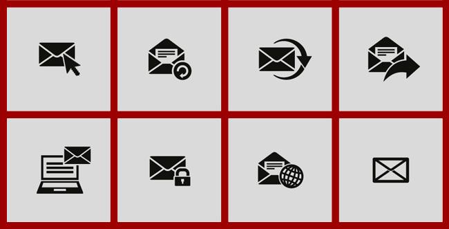Eメールのいろいろなフラットアイコン