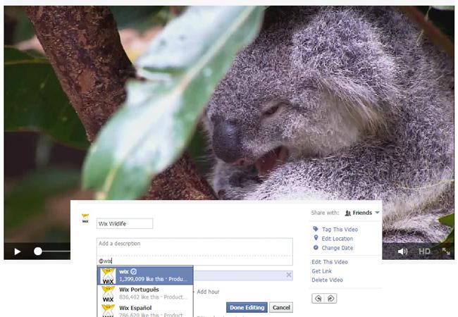 Facebookの動画にタグ付けする画面