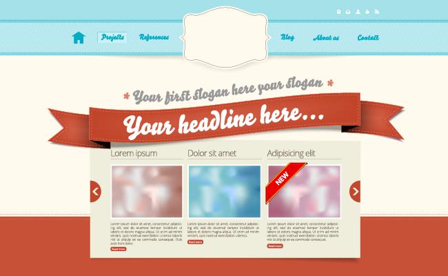 リボンを使ったウェブデザインのサンプル