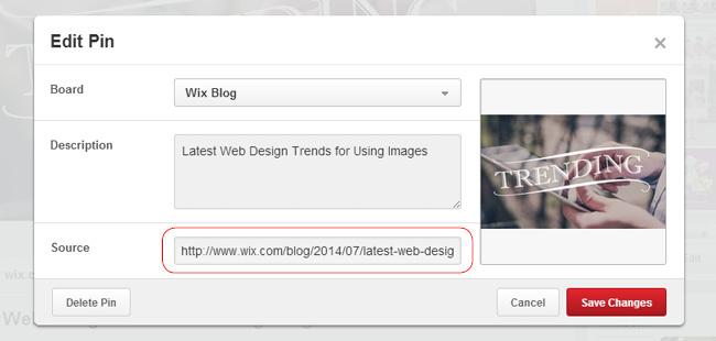 Pinterestの画像にリンクを追加