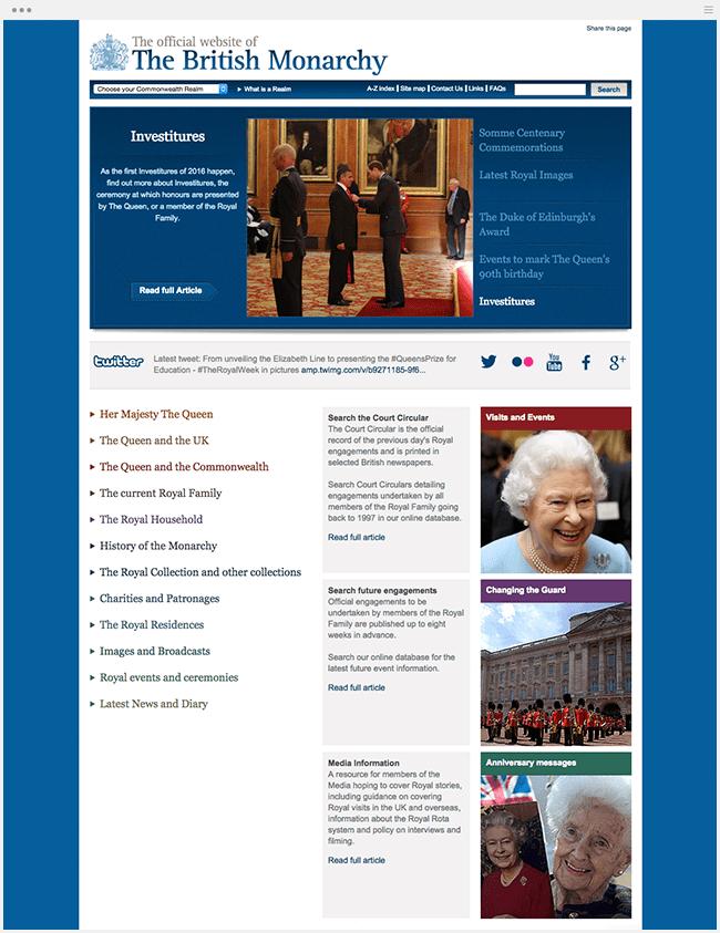 英国王室のサイト