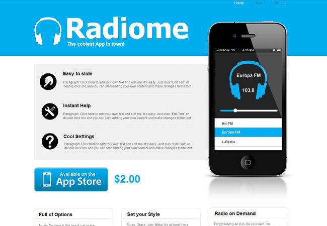 青い色を基調としたテクノロジーのホームページテンプレート