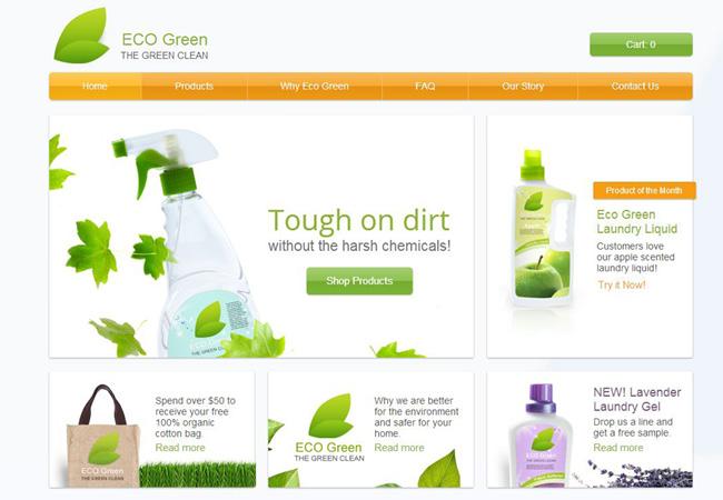 緑とオレンジを基調としたホームページテンプレート