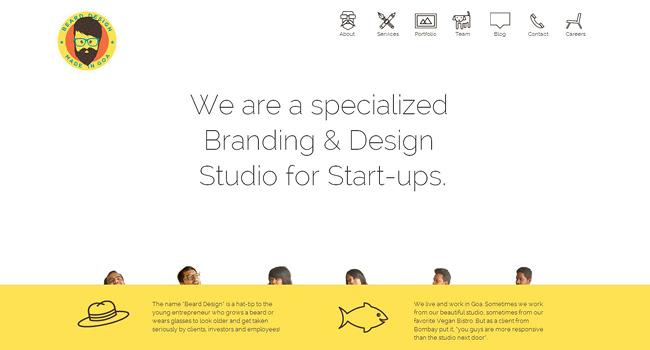 余白を上手く使ったシンプルなフラットデザインのホームページ