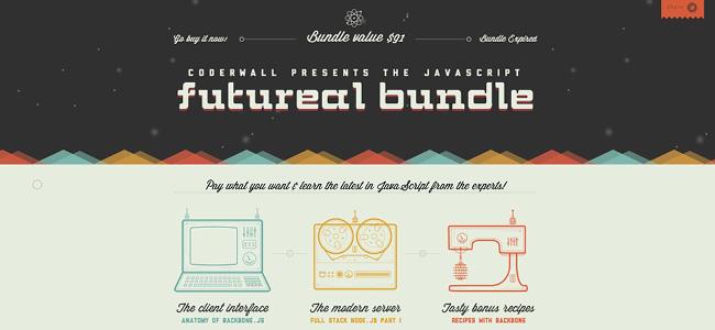 フラットデザインがタイポグラフィを引き立てているFutureal BundleのWixサイト