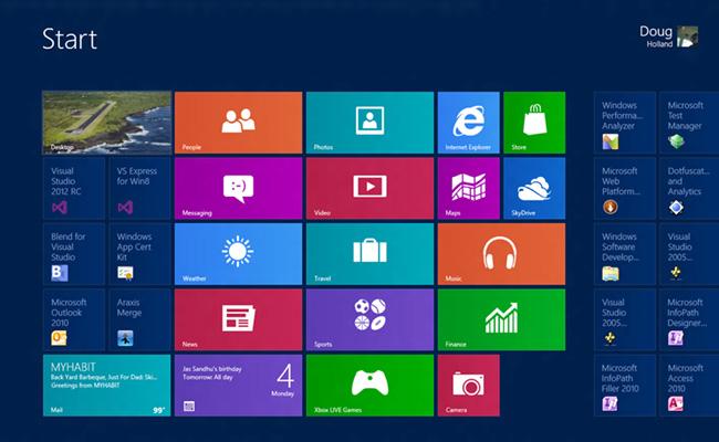 MicrosoftのWindows 8でもフラットデザインを採用している