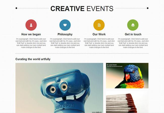 クリエイティブイベントをテーマにしたWixのホームページテンプレート