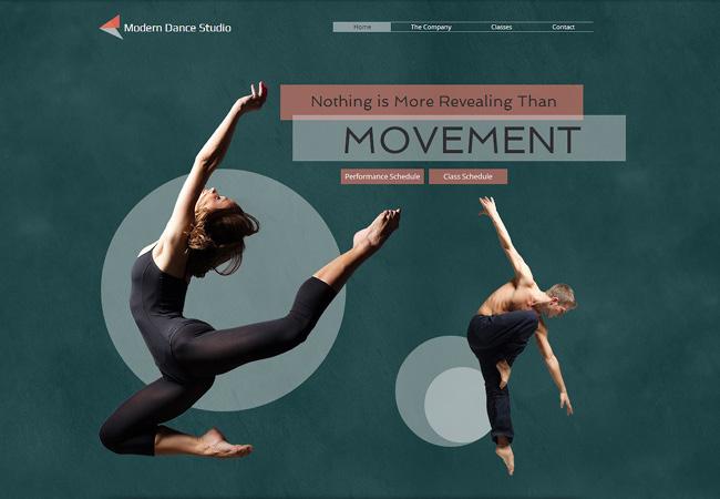 モダンなダンス・スタジオ用のホームページテンプレート
