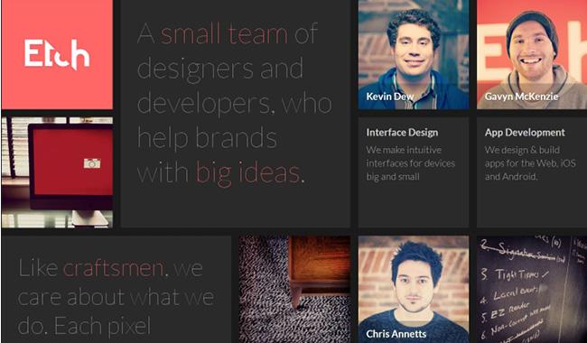 グリッドデザインを取り入れたEtchのウェブデザイン