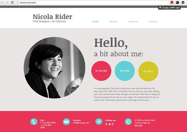 オンライン履歴書用のHTML5ホームページテンプレート