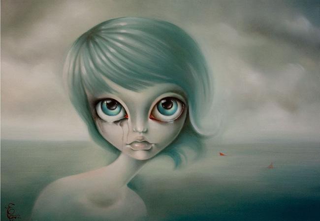 女の子が泣いているイラスト