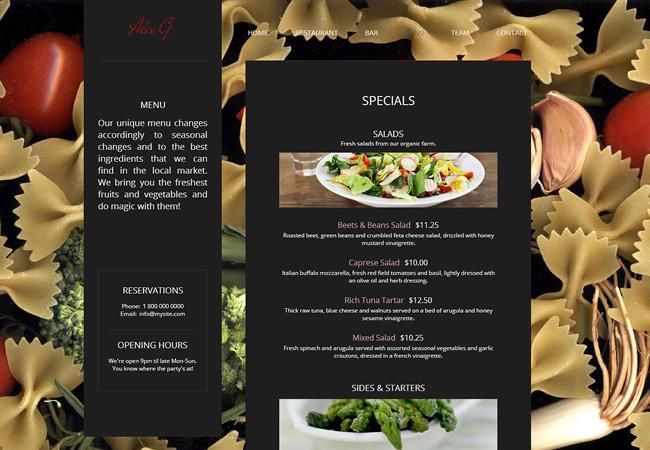 ホームページに掲載されたレストランメニュー