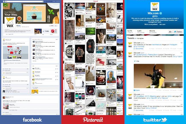WixのFacebook Pinterest Twitterアカウント