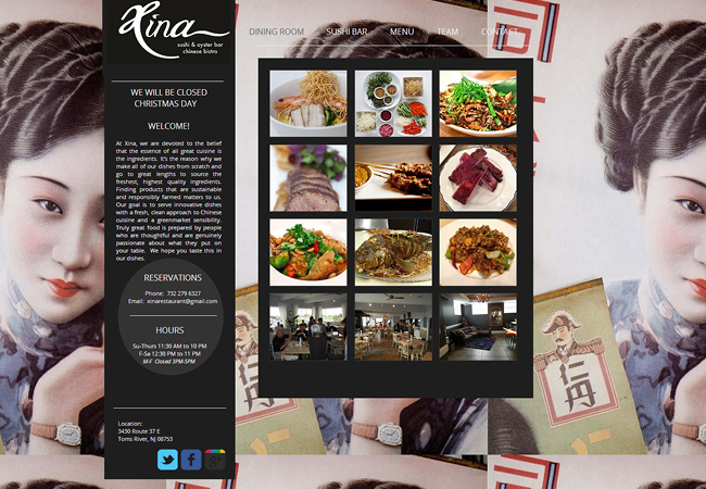 Xina RestaurantのWixホームページ