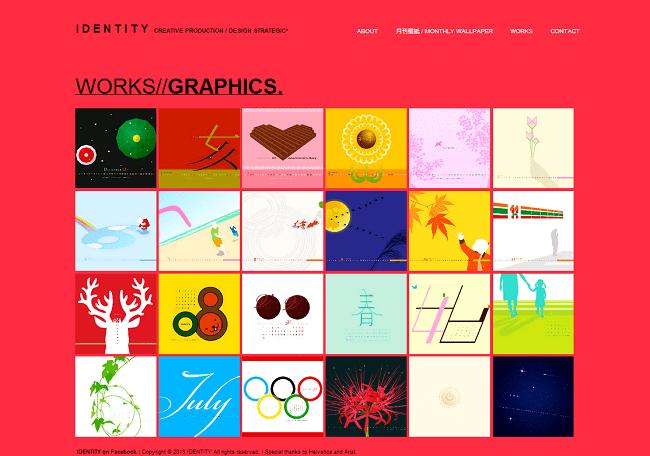 グラフィックデザインが並ぶIdentityさんのWixサイト