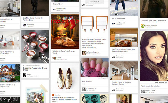 Pinterestの特徴的なウェブデザイン