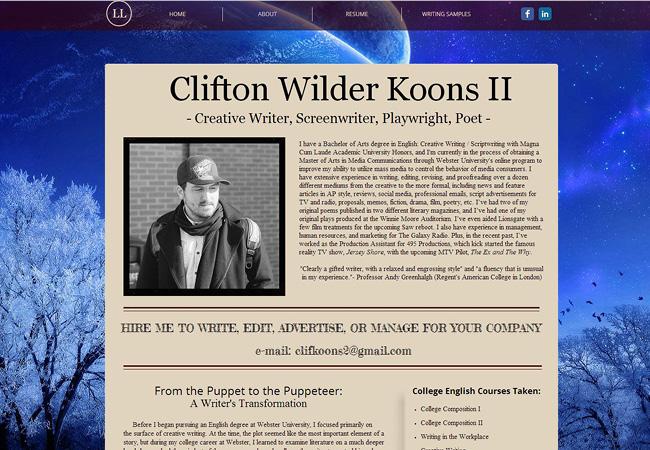 Clifton KoonsさんのWixサイト