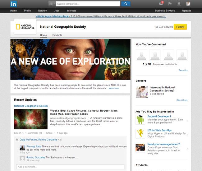 National GeographicのLinkedInページ