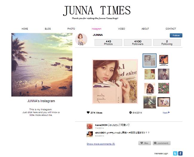 Instagramアプリを取り入れたJUNNA TIMESのWixサイト