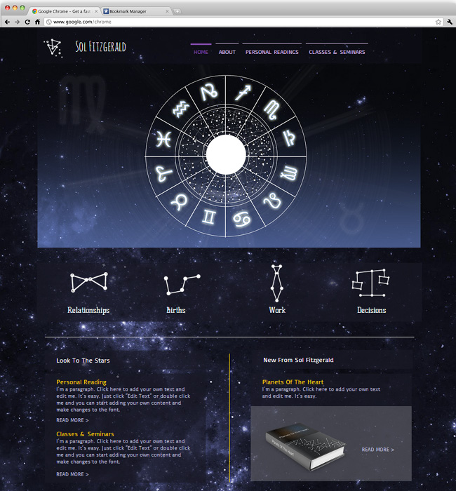 天体観測のホームページテンプレート