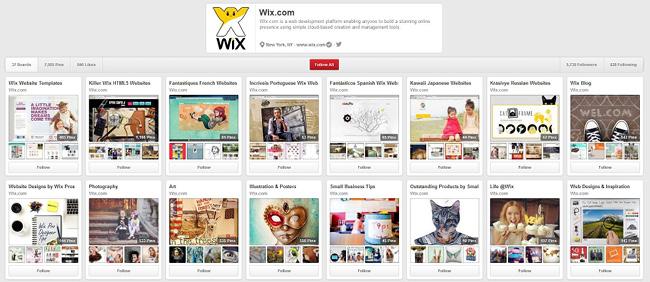 Wix Pinterestページ