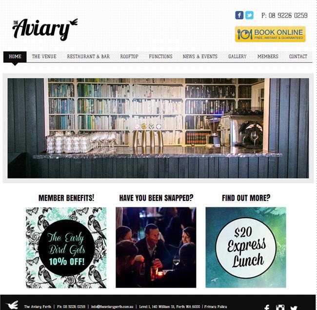 The Aviary のホームページ