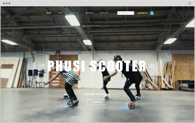 PHUSIスクーターのWixサイト