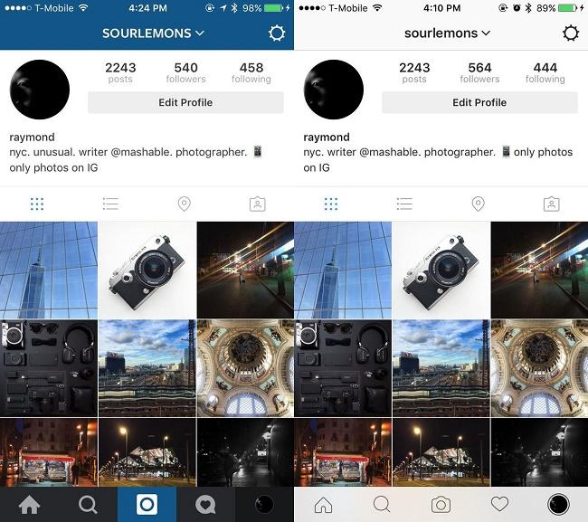 Instagram新デザイン、ホームページ